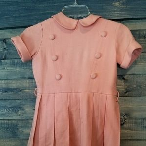 Vintage 50s girls Pink Pleated dress